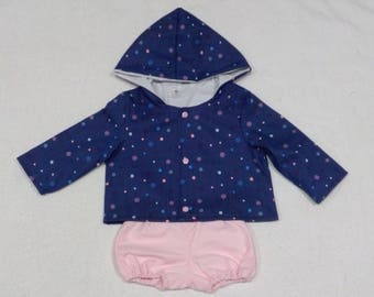 Denim jacket hooded, with inner lining, handmade clothing colours polka dot print