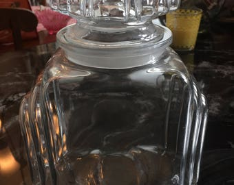 Vintage clear glass apothecary/store/candy jar