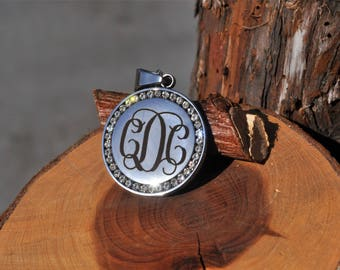 Custom Handwriting, Stainless Steel Circle Necklace, Gems, Monogram Necklace, Engraved, Engraving, Personal, Unique, Mother Gift, 5-6