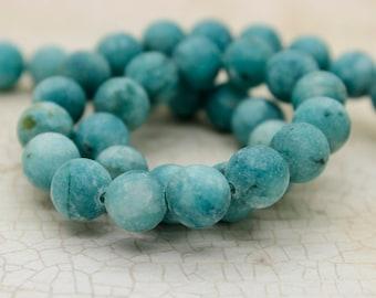 Dye Jasper (Teal) Matte Round Gemstone Beads