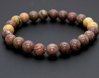 "Smooth Mixed Brown Color Beads Size 8mm. Length 8"" Semi-Precious Gemstone Elastic Cord Bracelet Accessories"