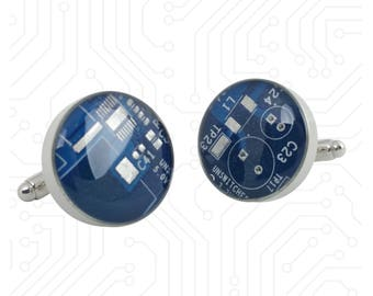Blue and Silver Circuit Board Cufflinks - Handmade Cufflinks  w/ Recycled Technology - Silver Plated - Choose Round or Square