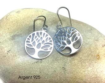 Earrings in 925 sterling silver tree of life pendants