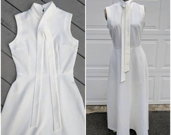 1960's White High Collar Maxi Gown, M
