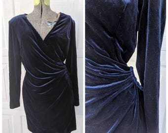 Vintage 90's Navy Blue Midi Wrap Dress || 90's Long Sleeve Velvet Dress,  8