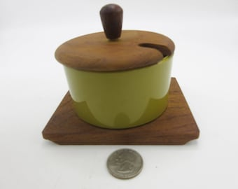 Danish Modern Luthje  Green Plastic Condiment Bowl with Teak Coaster and Top