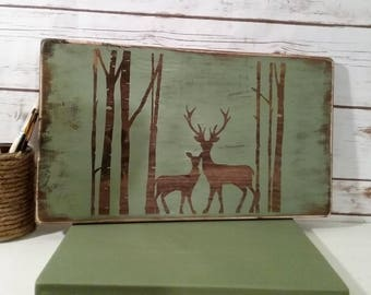 Deer in Birch Trees -- Hand Painted -- Buck -- Doe -- Redneck -- Green -- Rustic -- Farmhouse Style-- Cabin -- Farmhouse Sign - SALE