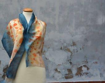 Airy blue beige wool scarf, shawl, scarf, blue, eco-print, blue, light orange, handmade from the FilzHaus16