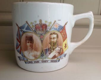 Vintage ceramic coronation mug George v and queen Mary 1911