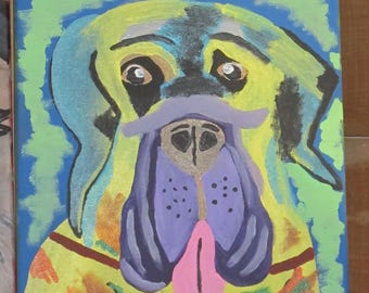Colorful fun Mastiff painting