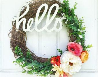 Hello Wreath | Warm Colors + Greenery Wreath | Spring Wreath | Summer Wreath | Greenery Wreath | Grapevine Wreath | Front Door Wreath