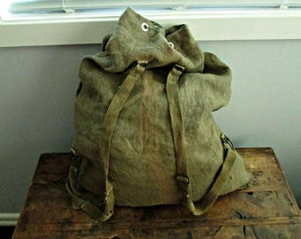 Vintage Hemp Linen Canvas Backpack Rucksack with Duffel Bag Top Bushcraft Camping Bag Hunting and Canoe Pack Fishing Bag Hipster Satchel Bag