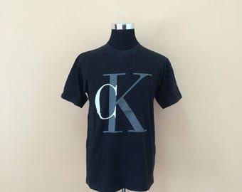 Vintage 90's Calvin Klein T-Shirt Big Logo Print Nice Design / CK Tshirt / CK Tee