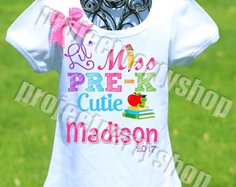 First Day of Preschool Shirt, First Day of School Shirt, Preschool Cutie Shirt, Lil Miss Pre-K Cutie Shirt, Back to School Shirt