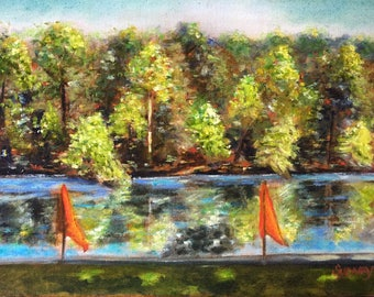 Lakeside View Fine Art Oil Painting on Canvas Wall Art