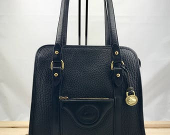 DOONEY & BOURKE Vintage Black Pebbled Leather Large Shoulder Bag Tote Bag AWL