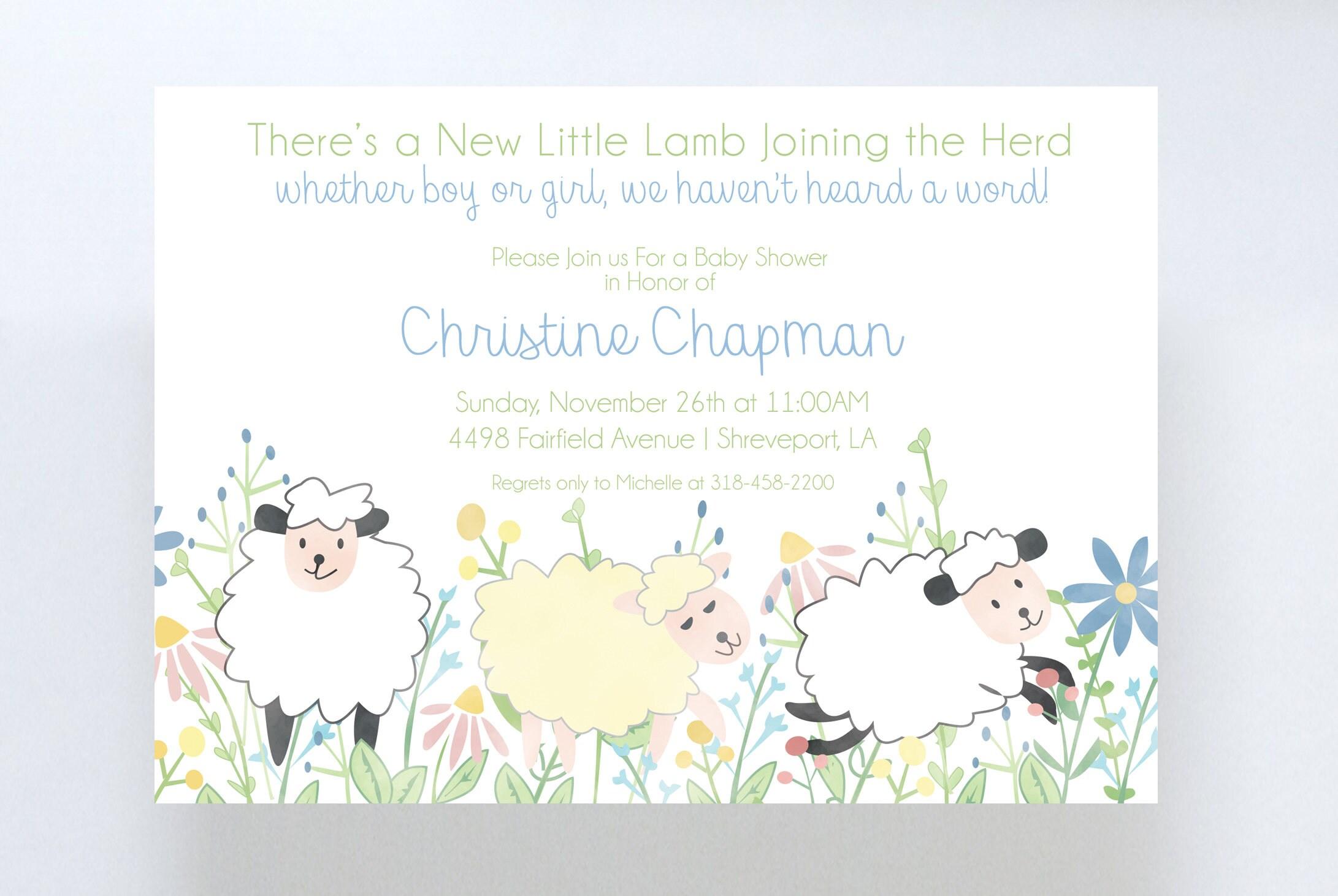 Sheep Baby Shower Invitation//Gender Neutral Baby Shower ...