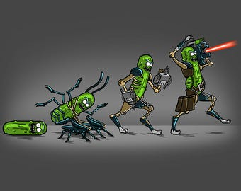 Pickle Evolution (Men's/Ladies/Kids Tshirts and Hoods) - Rick and Morty/Evolution Parody Tee/Poster