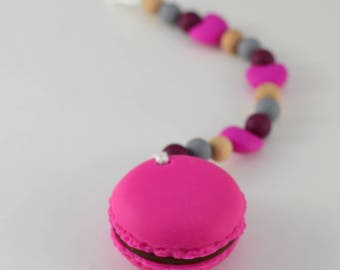Soother clip with Macaroon Teether Toy in Fuschia | Teether Toy | Baby Toy | Chew Toy | Fuschia and mint Baby Toy | Baby Gift | Shower Gift