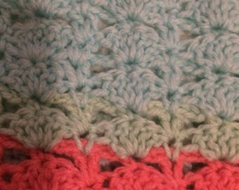Crochet baby blanket/crib blanket/pram blanket multicoloured fans