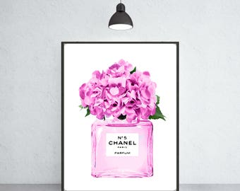 Chanel Nr.5 perfume with flowers art print Chanel poster Chanel warecolor Chanel home decor Chanel wall decor Chanel painting
