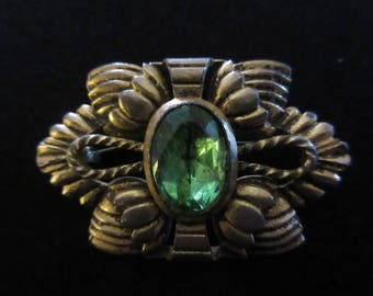 Antique Gold Gilt Rococo Revival Brooch with Green Stone and Early C Clasp