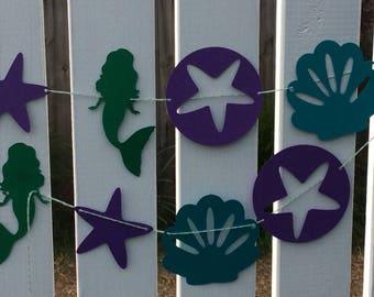 Mermaid garland, seashell garland, Under the Sea party, Mermaid banner, Mermaid party, Garland, Banner, Girls birthday banner,