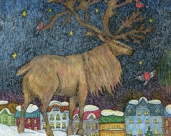 deer decor, deer painting, deer drawing, city painting, winter painting, nursery decor, nursery decor boy, deer nursery, deer home decor