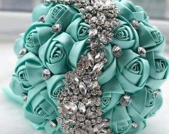brooch wedding bouquet, silk flowers, crystal bling teal turquoise