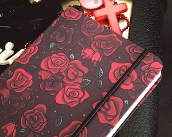 Crimson roses hard-cover notebook