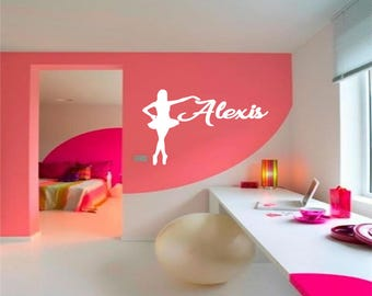Ballerina Wall Decal With Name, Personalized Wall Decal, Dancer Decal, Ballet Decal, Dance Life, Ballet Wall Decor, Bedroom Decal, Dancer