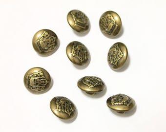 35 Royal Antique Bronze Celtic Shank Vintage Hole Buttons 15x15mm