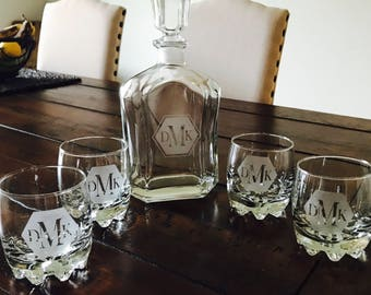 Personalized etched decanter and rocks glasses / monogrammed decanter / whiskey decanter / groomsman gift / wedding gift / engagement
