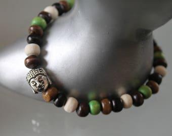 Men's bracelet. Buddha bracelet. wooden Bead Bracelet. boho bracelet. Buddhist bracelet. Silver charm - zen. Brown white green