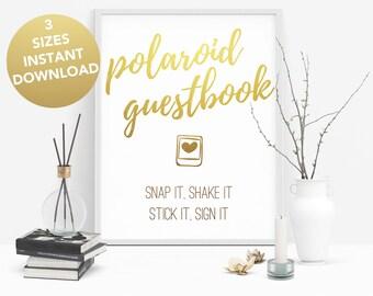 Polaroid  book pdf, Polaroid guest book sign, Polaroid download, Polaroid printable, Wedding polaroid