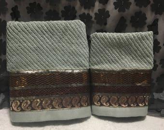Mettalic Bronze Gold Decorative Trim Towels