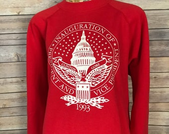 Vintage 90s Clinton and Gore Inauguration Crewneck Sweatshirt (XL)