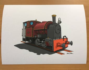 Kerr Stuart Corris Steam Locomotive Illustration Print