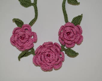 Crochet Roses Necklace/Crochet vines Garland/Neck Adornment Accessory