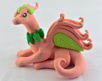 Pretty Pink & Green Earth Dragon Sculpture Polymer Clay