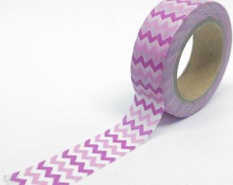 Washi Tape Chevron 10Mx15mm shades of pink and white geometric pattern