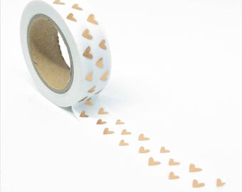 Washi Tape shiny copper 10Mx15mm white hearts