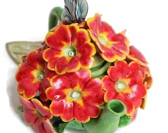 Unique Design Porcelain Miniature Flower Teapot -Red/Orange Geranium- for Fairy Garden, Dollhouse Decoration, Great for Mini Tabletop Vase