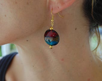 Golden earrings with blue and burgundy lampwork glass