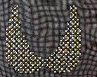 Cleopatra Collar, Black and Gold Zircone Stone Collar, Sew on Collar, Shiny Collar, Applique