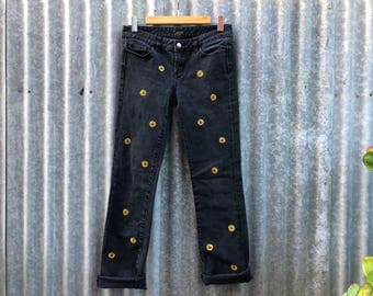 upcycled jeans hand-embroidered with sunflowers - size women's AU6-8