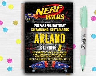 NERF Invitation, NERF Party Invitation, NERF Invite, Nerf Birthday, Nerf Birthday Invite, Nerf Party, Nerf Birthday Invite, Nerf printable