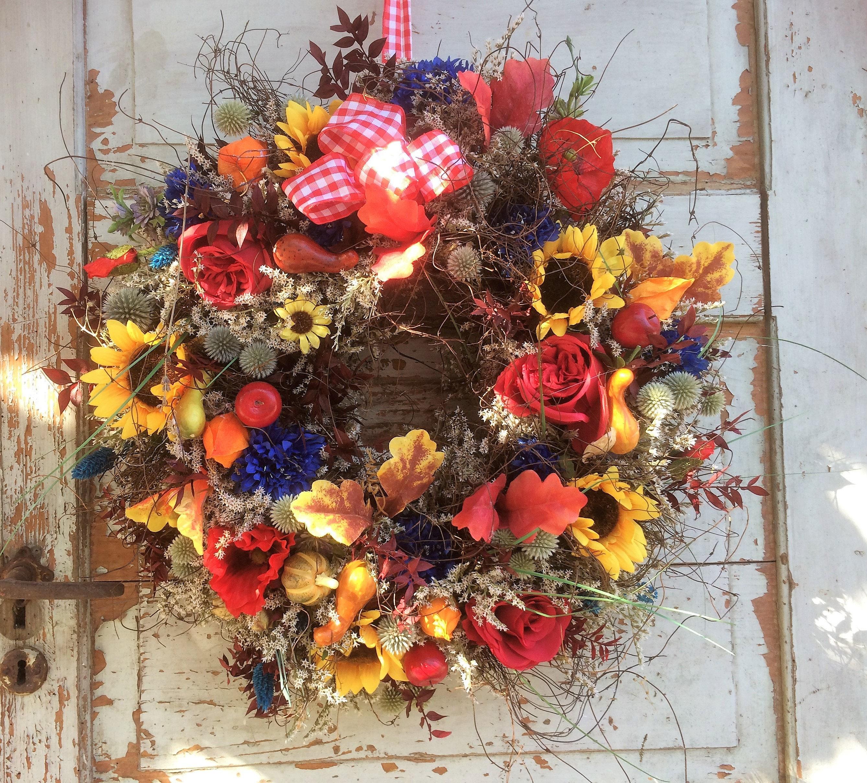 XXL ca. 58 cm autumn wreath door wreath Türkänze poppy