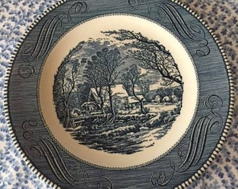Vintage Currier & Ives Dinner or Serving Plate in The Old Grist Mill Pattern U.S.A. 1970s
