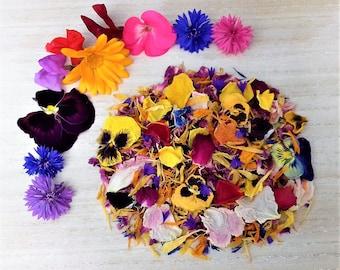 Organic Edible Flowers.. Borage, Rose, Forget Me Not, Marigold, Pansy, Nasturtium, Sweet Pea, Bee Balm, Cornflower, Peony, Chrysanthemum...